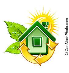 Simbolo de la casa ecológica con energía solar