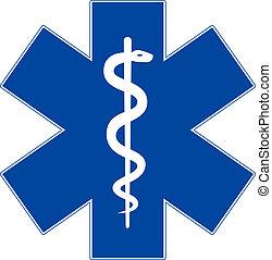 Simbolo de medicina de emergencia, estrella de la vida, aislado en blanco