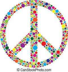 Simbolo de paz con polca hace ilustraciones