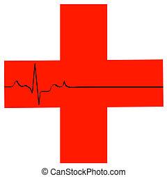 Simbolo de primeros auxilios con ritmo cardíaco plano