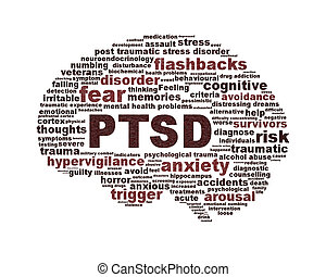 Simbolo de PTSD diseño conceptual aislado en blanco