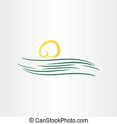 Simbolo de río y sol