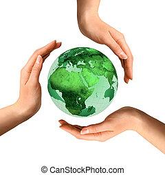 Simbolo de reciclaje conceptivo sobre el planeta Tierra