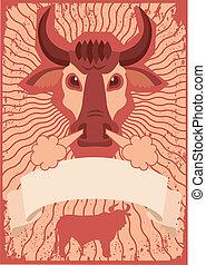 Simbolo de toros con antecedentes para textos. póster del vector grunge
