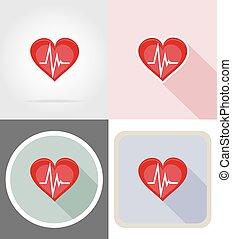 Simbolo del corazón sano iconos planos ilustración vectorial
