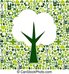 Simbolo económico con iconos verdes