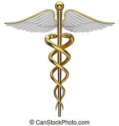 Simbolo médico de caduceo dorado