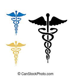 Simbolo médico de Caduceo ilustración de vector.