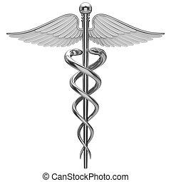 Simbolo médico de caduceo plateado