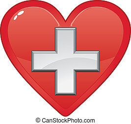 Simbolo médico de primera ayuda en el corazón