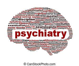 Simbolo médico de psiquiatría aislado en blanco