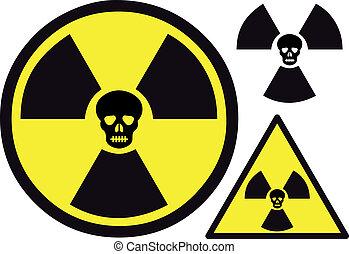 Simbolo nuclear con cráneo