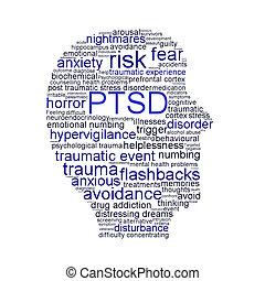 Simbolo PTSD aislado en el fondo blanco