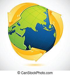 Simbolo reciclado alrededor de la Tierra