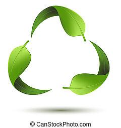 Simbolo reciclado con hojas