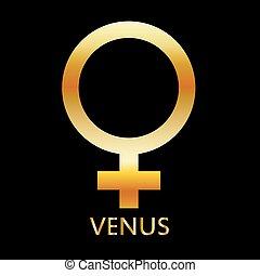 Simbolo zodiaco y astrología del planeta Venus en colores dorados, icono astronómico