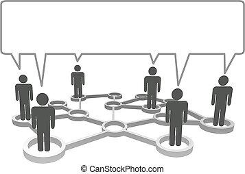 Simbolos conectados en los nodos de la red se comunican en una burbuja de habla.