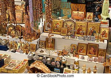 Simbolos cristianos en el mercado este de Jerusalén