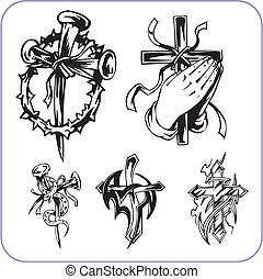 Simbolos cristianos: ilustración vectorial.