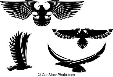 Simbolos de águila heráldica y tatuaje