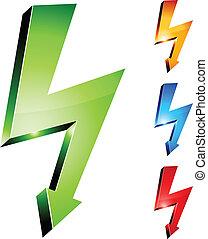 Simbolos de advertencia de electricidad.