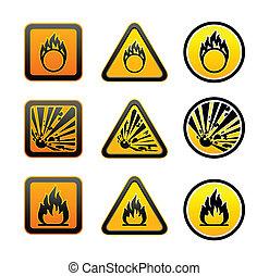 Simbolos de advertencia de peligro fijados