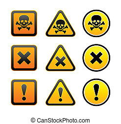 Simbolos de advertencia de peligro, listos