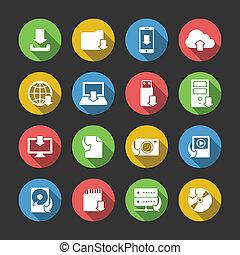 Simbolos de descarga de Internet establecidos