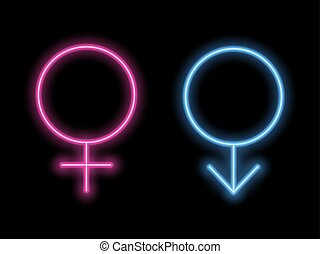 Simbolos de género al estilo neón. Neon silueta