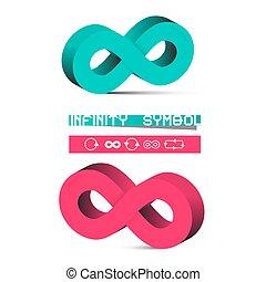 Simbolos de infinidad Vector 3D aislados en el fondo blanco