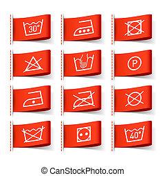 Simbolos de lavandería en etiquetas de ropa