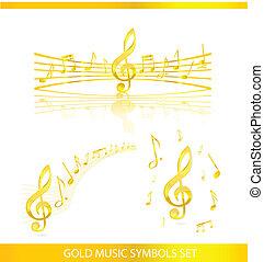 Simbolos de música abstractos marcan color de oro