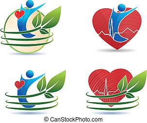 Simbolos de salud humana, concepto saludable del corazón