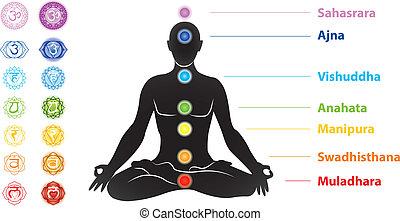 Simbolos de siete chakras y man silueta