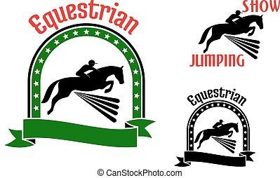 Simbolos deportivos ecuestre con caballos saltarines