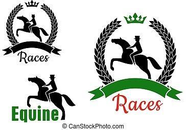 Simbolos deportivos ecuestre con caballos y jinetes