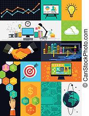Simbolos Infográficos de diseño plana ilustración vectorial con símbolos de diseño e íconos.