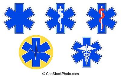 Simbolos médicos internacionales establecidos. Estrella de la vida, personal de Asclepio, caduceo, Vector