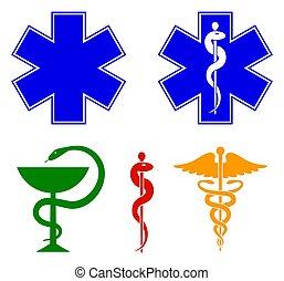Simbolos médicos internacionales establecidos. Estrella de la vida, personal de Asclepio, caduceo, tazón con una serpiente. Vector