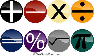 Simbolos matemáticos en botones multicolores