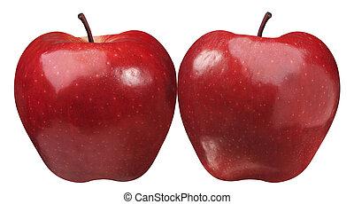 simetrical, dos, manzana