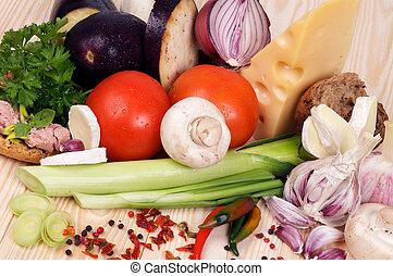 simple, comidas, ingredientes