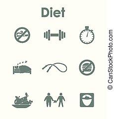 simple, conjunto, dieta, iconos