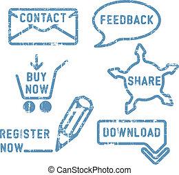 Simple contacto vector, retroalimentación, acciones, compra, descarga, sellos de registro