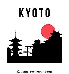 simple, contorno, ciudad, silhouette., kyoto