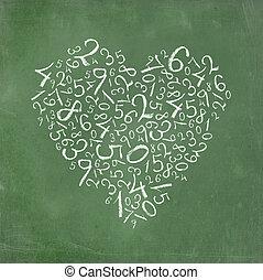 simple, corazón, números, formado