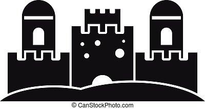 simple, estilo, icono, playa, castillo