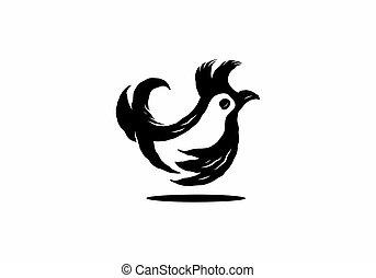 simple, gallo, poco, silueta, ilustración
