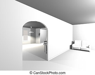 Simple interior blanco
