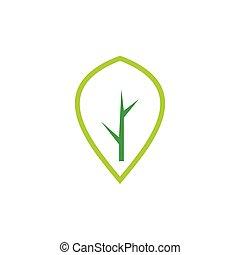simple, logotipo, vector, árbol, resumen